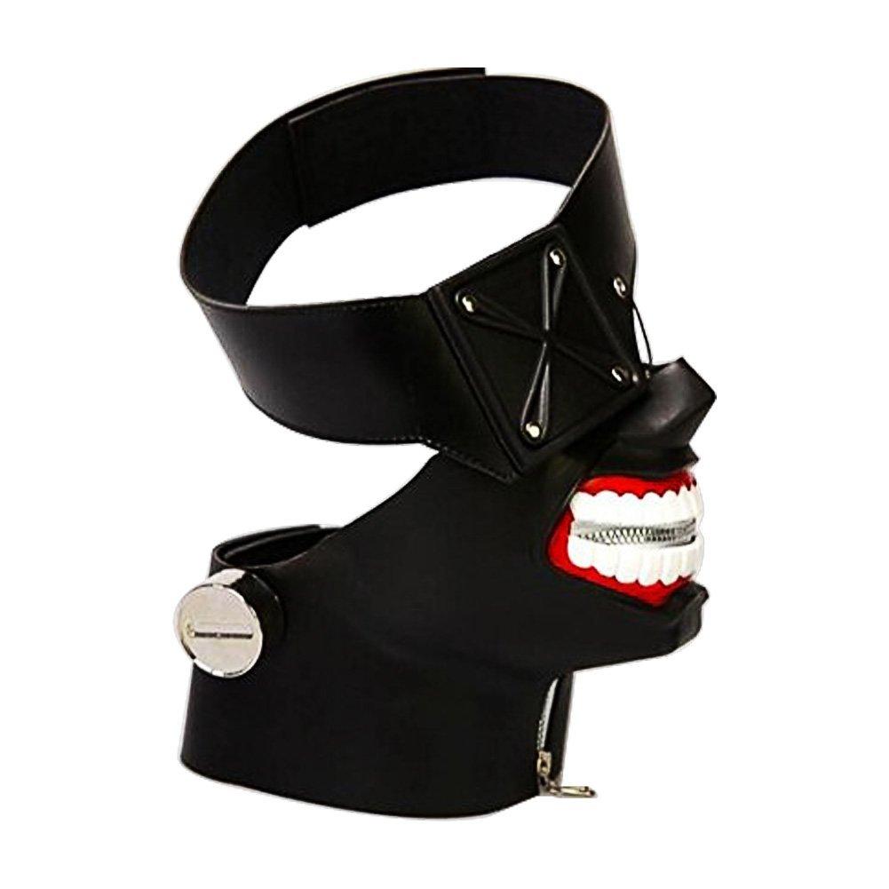 Nofonda Tokyo Ghouls Ken Kaneki 3D Máscara Negro,PU Cuero,Sólida y Realista, Disfraz de Cosplay para Halloween,Fiesta Temática, Mascarada, Carnaval