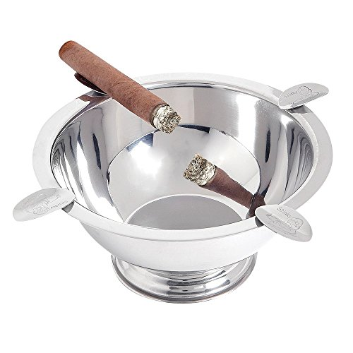 (Stinky Cigar Ashtray, Windproof, Deep Bowl Design, 4 Polished Stainless Steel Stirrups)