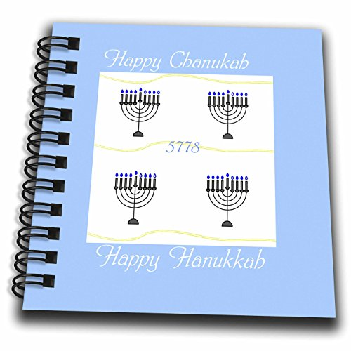 3dRose Chanukah for Special People - Image of Happy Chanukah With Menorahs On Pale Blue - Mini Notepad 4 x 4 inch (db_262588_3) (People Menorah)