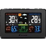 Wireless Weather Station, Houzetek S657 Indoor Outdoor Color Forecast Station with Sensor, Home Alarm Clock with Temperature Alerts, Charging USB Port