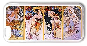 iPhone 6 Cases 4.7inch, The Four Seasons Personified Alphonse Mucha TPU Rubber Soft Case for iPhone 6 4.7inch Transparent