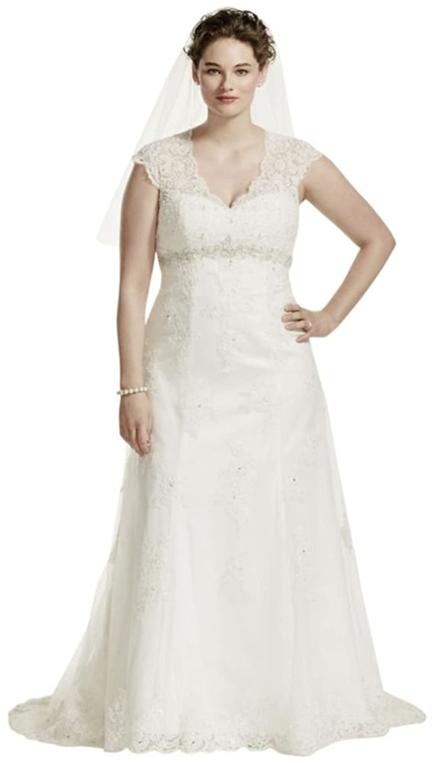Cap Sleeve Lace Over Satin Plus Size Wedding Dress Style 9t3299 At