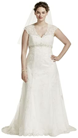 Cap Sleeve Lace Over Satin Plus Size Wedding Dress Style ...