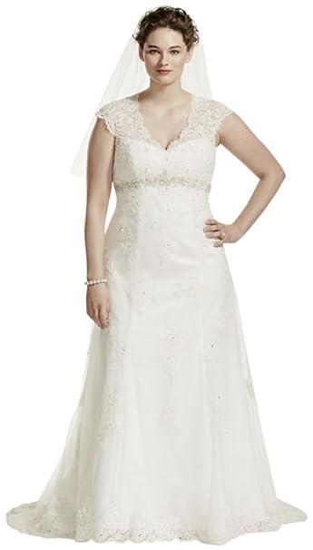 Cap Sleeve Lace Over Satin Plus Size Wedding Dress Style