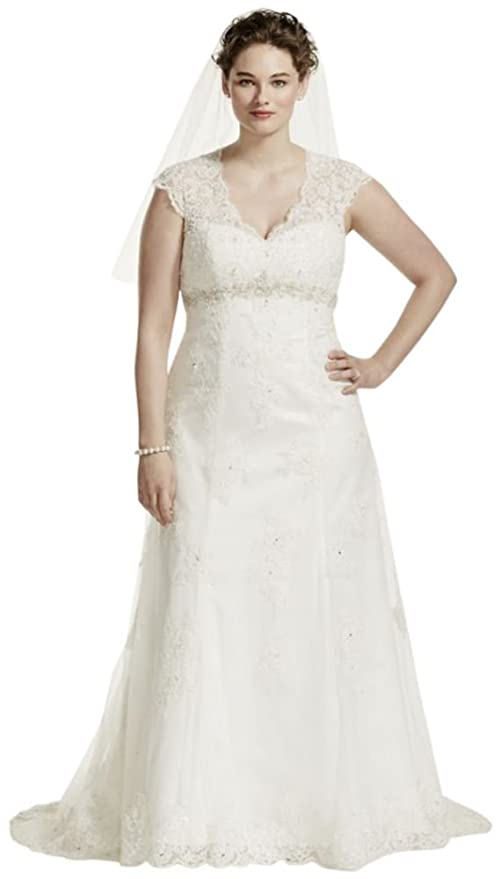 Cap Sleeve Lace Over Satin Plus Size Wedding Dress Style 9T3299 at ...