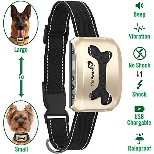 (PetAmenity No Barking Control Anti Bark Collar [2019 Ultra], Rechargeable/Rainproof/Reflective, 7 Sensitivity, Beep/Vibration/Safe Shock for Large, Medium, Small Dogs (Gold, Bone) )