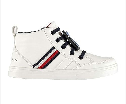Zapatillas Tommy Hilfiger en Cuero Blanco, Cuero, con Cierre de Cremallera Lateral, Logotipo