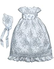 Lace Christening Gowns for Baby Girls Long Beaded Baptism Dresses with Bonnet