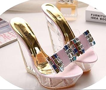 XiaoGao Zapatillas de tacon alto 18 cm de fondo grueso lentejuelas transparentes noche tienda zapatillas,Golden arco de 14 cm: Amazon.es: Deportes y aire ...