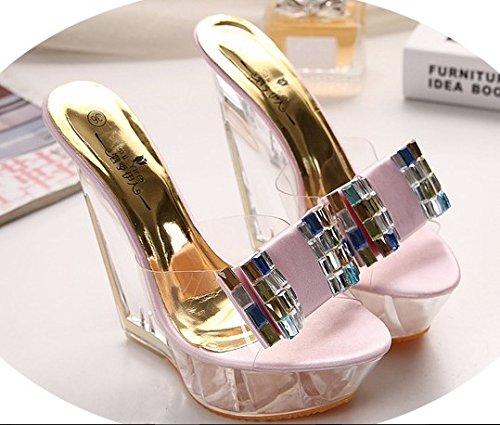 zapatillas noche grueso de de XiaoGao tienda cm 14 18 cm arco transparentes de fondo tacon alto lentejuelas Zapatillas Golden PAwqA84O