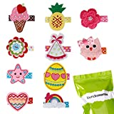 Bundle Monster 10 pc Baby Girls Multicolor Embroidered Design Soft Fabric Hair Clip Accessories - Set 1: Perfect Princess