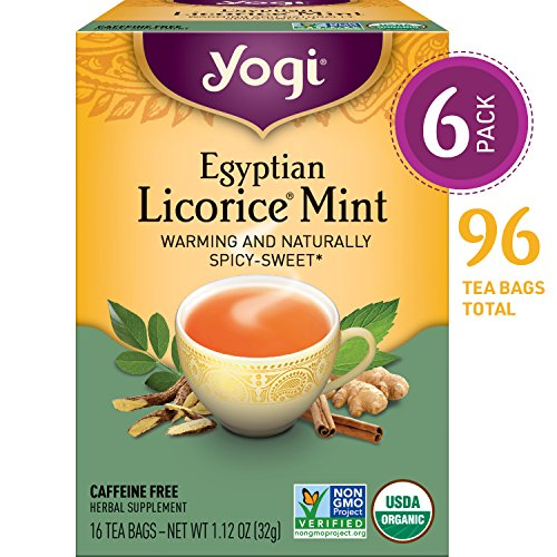 Yogi Tea - Egyptian Licorice Mint - Warming and Naturally Spicy Sweet - 6 Pack, 96 Tea Bags Total