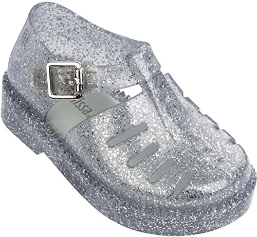 Light Silver Mini (Mini Melissa Girls' Mini Aranha 79 16 Flat Sandal, Light Silver Sparkle, 12 Regular US Little Kid)