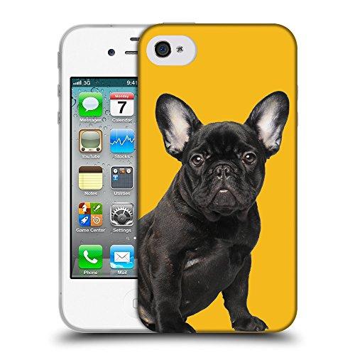 GoGoMobile Coque de Protection TPU Silicone Case pour // Q05630602 Bouledogue noir Ambra // Apple iPhone 4 4S 4G