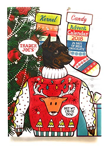 Trader Joe's Advent Calendar 24 Days of Milk Chocolate Kernel the Ugly Sweater Dog