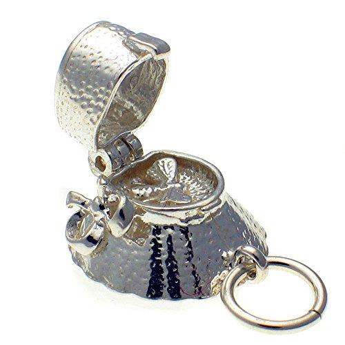 Vogue Bonnet - Welded Bliss Sterling 925 Solid Silver Opening Bee in Bonnet Hat Charm Pendant. Handmade by Welded Bliss WBC1578