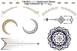Yoga-Inspired Metallic Tattoos by TribeTats (Statement Pieces + Decals 2 Sheet Set) | Henna Inspired Temporary Tattoos | Mandalas, Om Symbols, Chakras, Moon Phases, Baby Elephants | Applies In A Flash