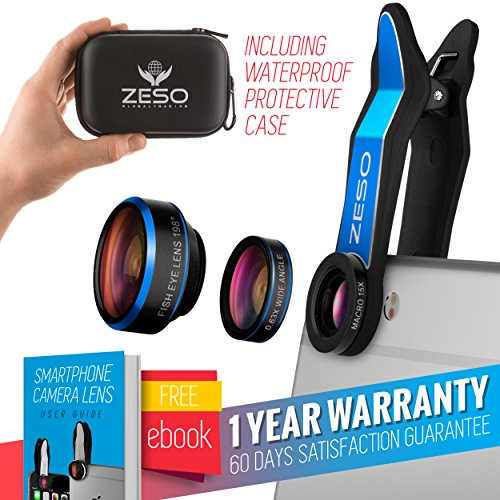 Cell Phone Camera Lens 3 In 1 Kit by Zeso | Professional Fisheye, Macro & Wide Angle Lenses | For iPhone, Samsung