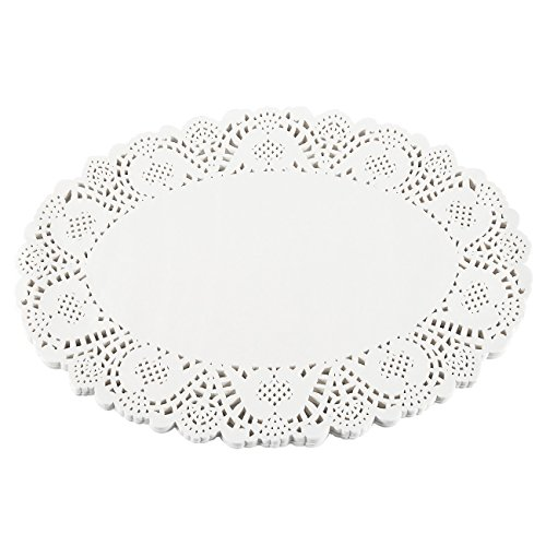 Paper Doilies – 100-Pack Oval Lace Placemats for Cakes, Desserts, Baked Treat Display, Ideal for Weddings, Formal Event Decoration, Tableware Décor, White -17.5 x 12.5 - Oval Sweet