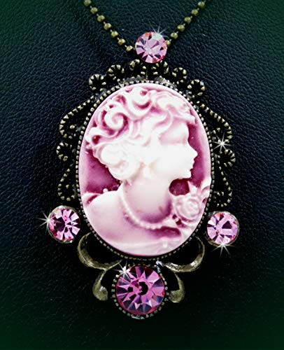 Victorian Style Lady Cameo Beauty Pink Austrian Crystal Pendant Brooch Rhinestone Necklace Set for Women