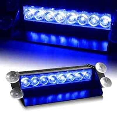 DIYAH 8 LED Warning Caution Car Van Truck Emergency Strobe Light Lamp For Interior Roof Dash Windshield (Blue): Automotive