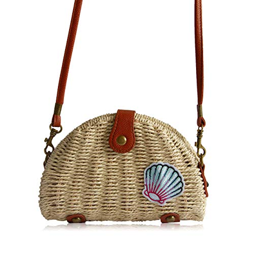 (Handmade boho Straw Bag - rattan round wicker bags for women: bohemian handbags and woven beach purse - circle bamboo handbag: seashell beach bag)