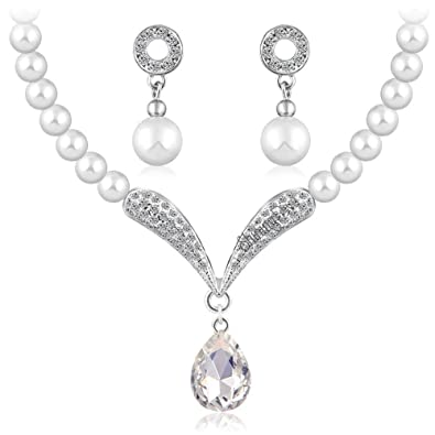a380186492 Buy Shining Diva Fashion Crystal Pearl Necklace Set for Women/Jewellery Set  with Earrings for Women & Girls(White)(rrsd8494s) Online at Low Prices in  India ...