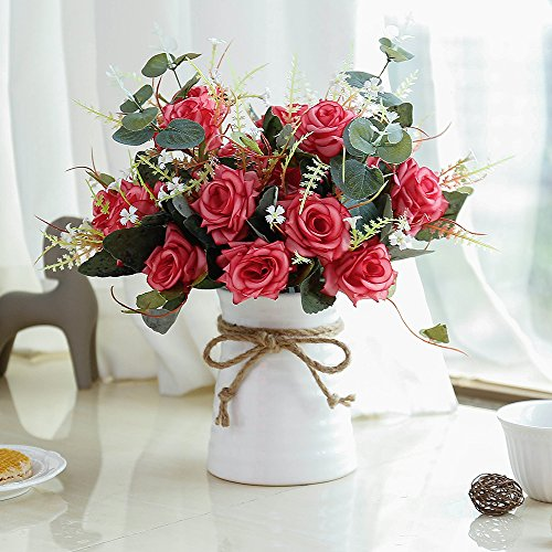 YILIYAJIA Artificial Rose Bouquets with Ceramics Vase Fake Silk Rose Flowers Decoration for Table Home Office Wedding (red) (Decorations Table Valentine)