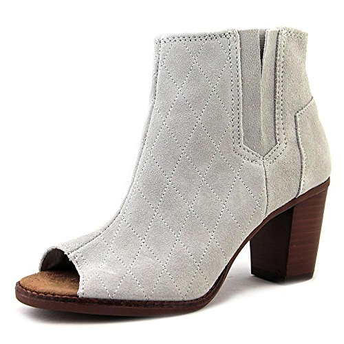 TOMS Women's Majorca Peep Toe Bootie High Rise Grey Casual Shoe 9 Women US by TOMS