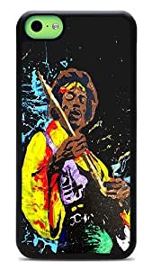 iPhone 5c Cases, Jimi Hendrix Jamming Flexible Snap-on Hard Flexible Case for Apple iPhone 5C Black