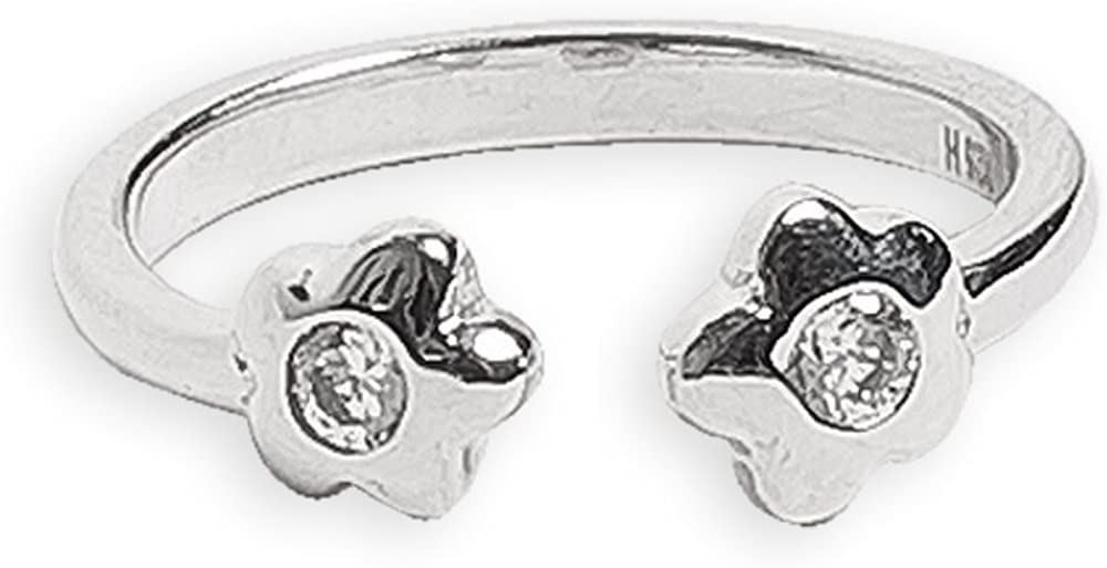 Perfect One Size Fits Most Gift for Birthday Flower Cubic Zirconia /& .925 Sterling Silver Adjustable Ring Toe Ring Made in USA