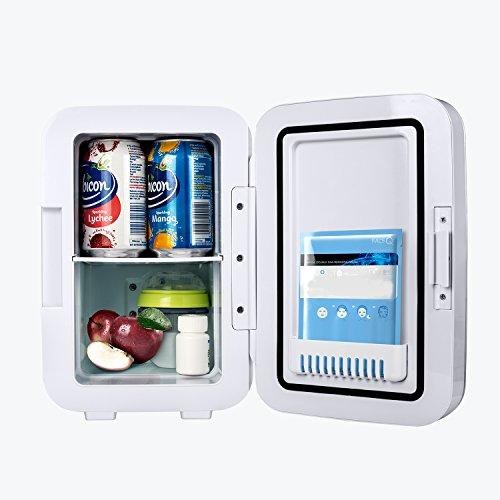 POTEK Mini Fridge Electric Cooler and Warmer (6 Liter / 6 Can) :AC 110V/ DC 12V Portable Thermoelectric System,For Car /Indoor /Outdoor (Silver Grey) by POTEK (Image #4)