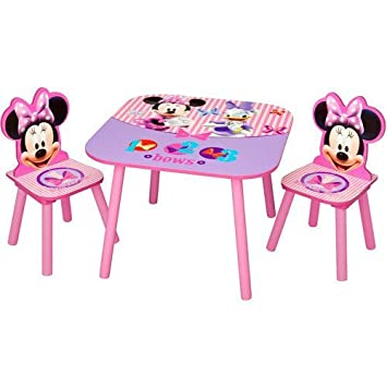 DISNEY MINNIE MOUSE KIDS WOODEN TABLE AND CHAIRS SET NEW