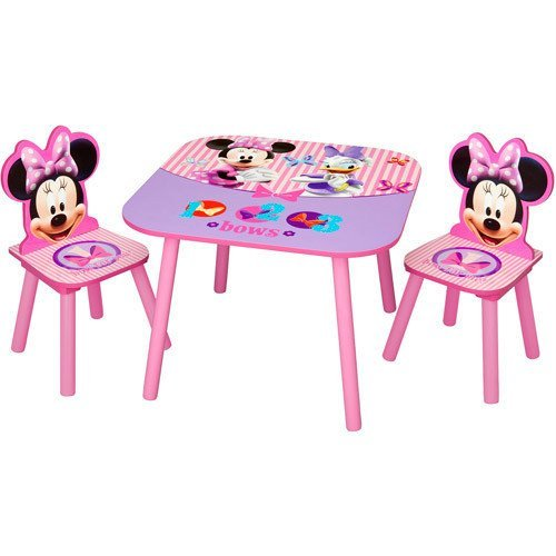 My Gn  Disney Minnie Mouse Kids Wooden Table And Chairs Set New