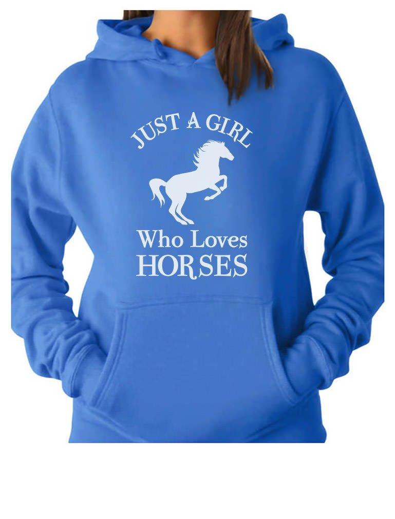 Tstars - A Girl Who Loves Horses Horse Lover Gift Women Hoodie Small California Blue