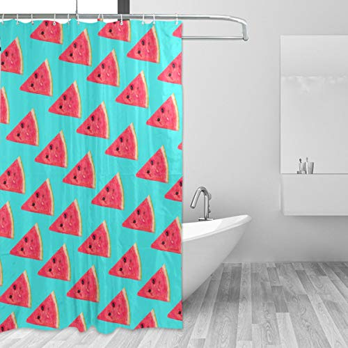 Watermelon Triangular Slices Turquoise Backdrop Shower Curtain Waterproof Resistant Fabric Kids Bathroom Curtain ()