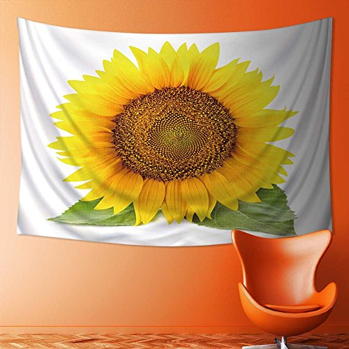 UHOO2018 Wall Tapestry Flower Tapestry Floral Words Tapestry Wall Hanging One Large Sunflowers with Leaves Isolated on White Background Tapestry Wall Decor Quote Tapestry(36W x 24L INCH) ()