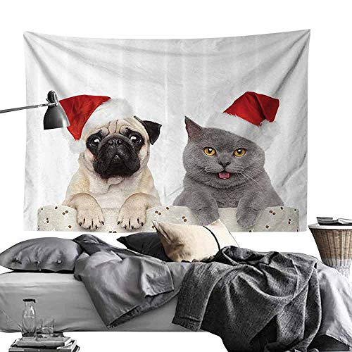 Bed Linen Tapestry Pug Christmas Themed Animal Photography with a Cat and Dog Wearing Santa Hats Print Wall Hanging W70 x L59 Grey Cream Red