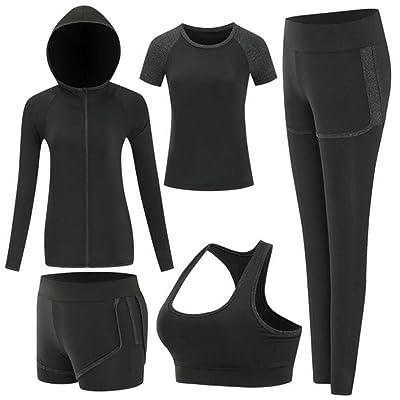 ZETIY Women's Activewear Set 5 Piece Yoga Jogging Workout Clothes Athletic Tracksuits at Women's Clothing store