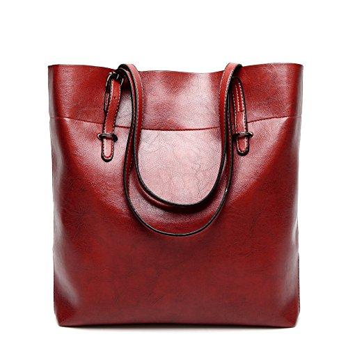 MeiliYH Delle Donne Alla Moda di Grande Capacità Borse in Pelle Olio Borsa di Cuoio Large Tote Bag Delle Donne
