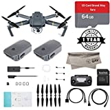 Cheap DJI Mavic Pro Quadcopter with Remote Controller, 2 Batteries(1 New Battery, 1 Open Box Battery with 90 Days Wty) 64GB Micro SD with Adapter, Microfibre Cloth, with 1-Year Warranty – Gray