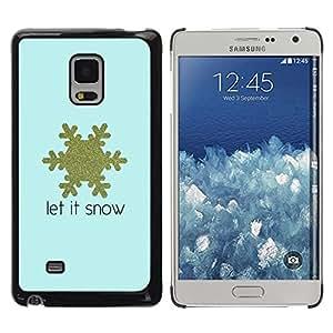 Paccase / SLIM PC / Aliminium Casa Carcasa Funda Case Cover para - Snowflake Blue Gold Text Winter - Samsung Galaxy Mega 5.8 9150 9152