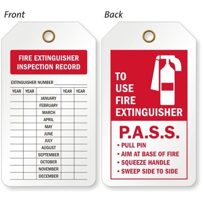 photo about Printable Fire Extinguisher Inspection Tags identified as : Hearth Extinguisher Inspection, Eco-Tag 10 mil