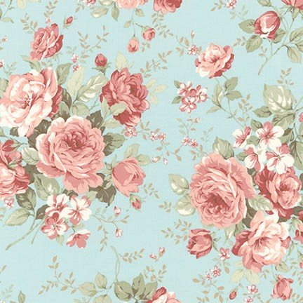 Margeaux Floral~Large Roses on Aqua Cotton Fabric by Robert Kaufman (Aqua Floral Fabric)
