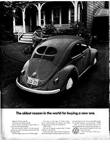 Vintage Vw Ads (1971 VW Beetle -Why Replace 1949 Model Bug-Original 13.5 * 10.5 Magazine Ad)