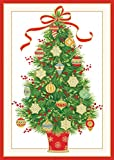 Entertaining with Caspari Tree With Ornaments Christmas Cards, Box of 16