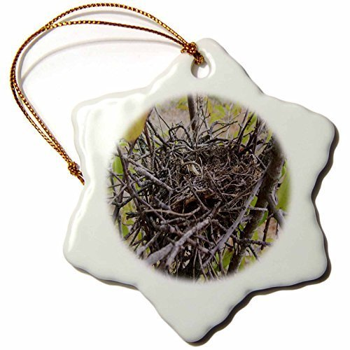 - 88BoydBertha Empty Bird Nest Snowflake Decorative Hanging Ornament, Porcelain, 3-Inch