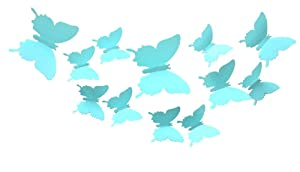 CuteProduct 12Pcs 3d Butterfly Removable Wall Decals Diy Home Decorations Art Decor Wall Stickers Murals for Babys Kids Bedroom Living Room Classroom Office(Color Pale Blue)