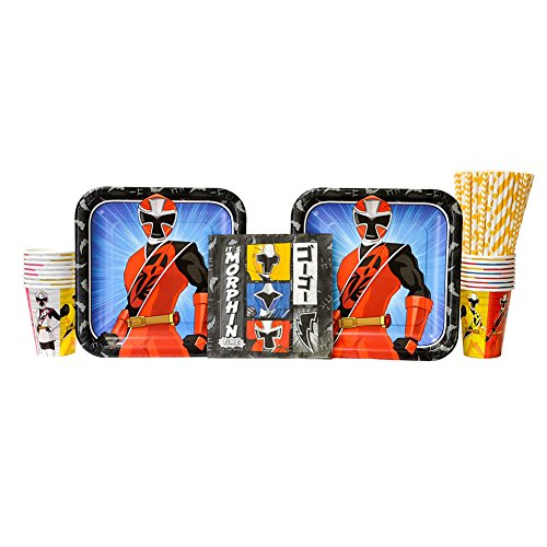 Power Rangers Ninja Steel Birthday Party Supplies Pack for 16 Guests | Straws, Luncheon Plates, Luncheon Napkins, and Cups | Perfect Addition To Power Rangers Ninja Steel Birthday Party Decorations