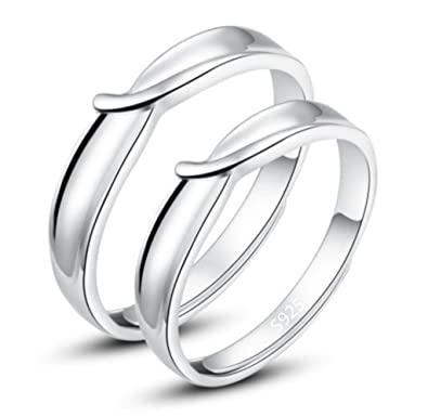Infinite U Classical Love 925 Sterling Silver Couples Adjustable Rings for Engagement Size J to Z I5Ir1JzXLa